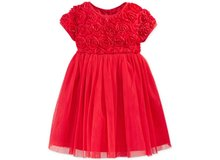 Baby Girls Elegant Flower Embroidery Red Wedding Lace Dress