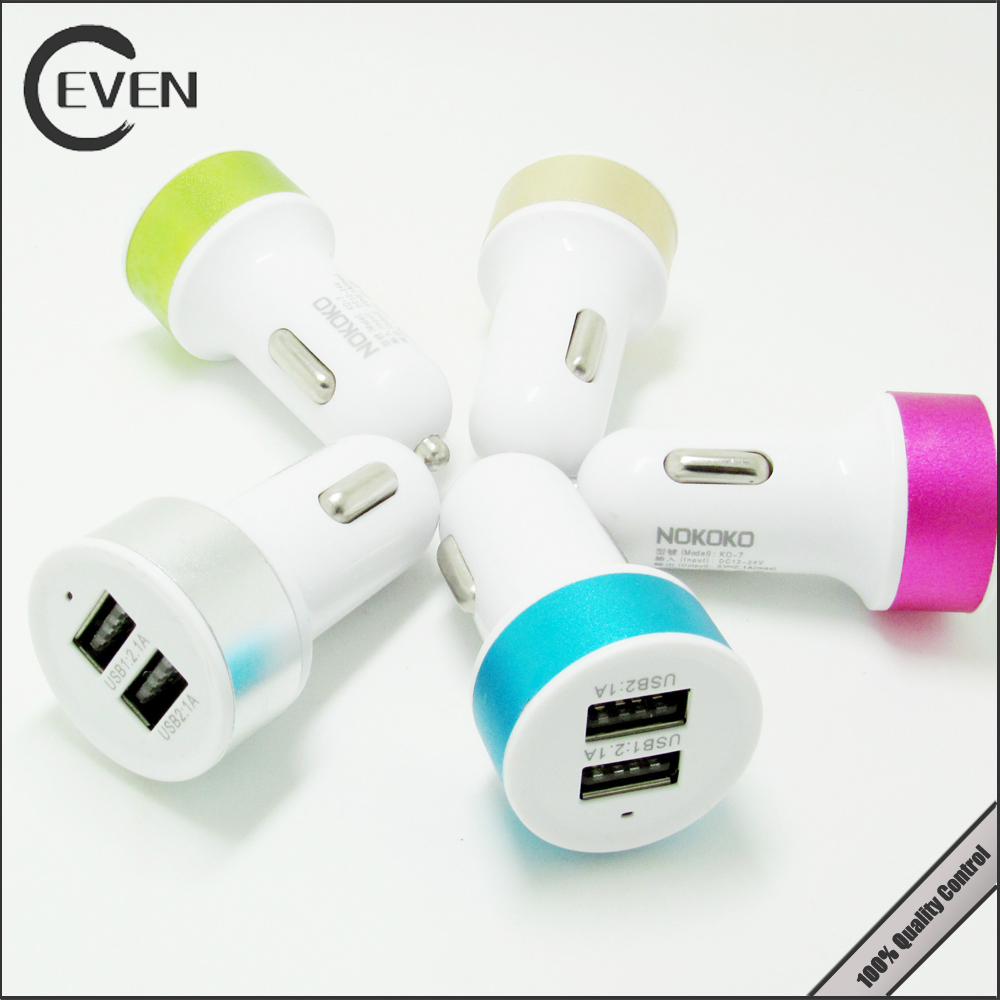universal 2 port usb car charger, phone charger mobile for car