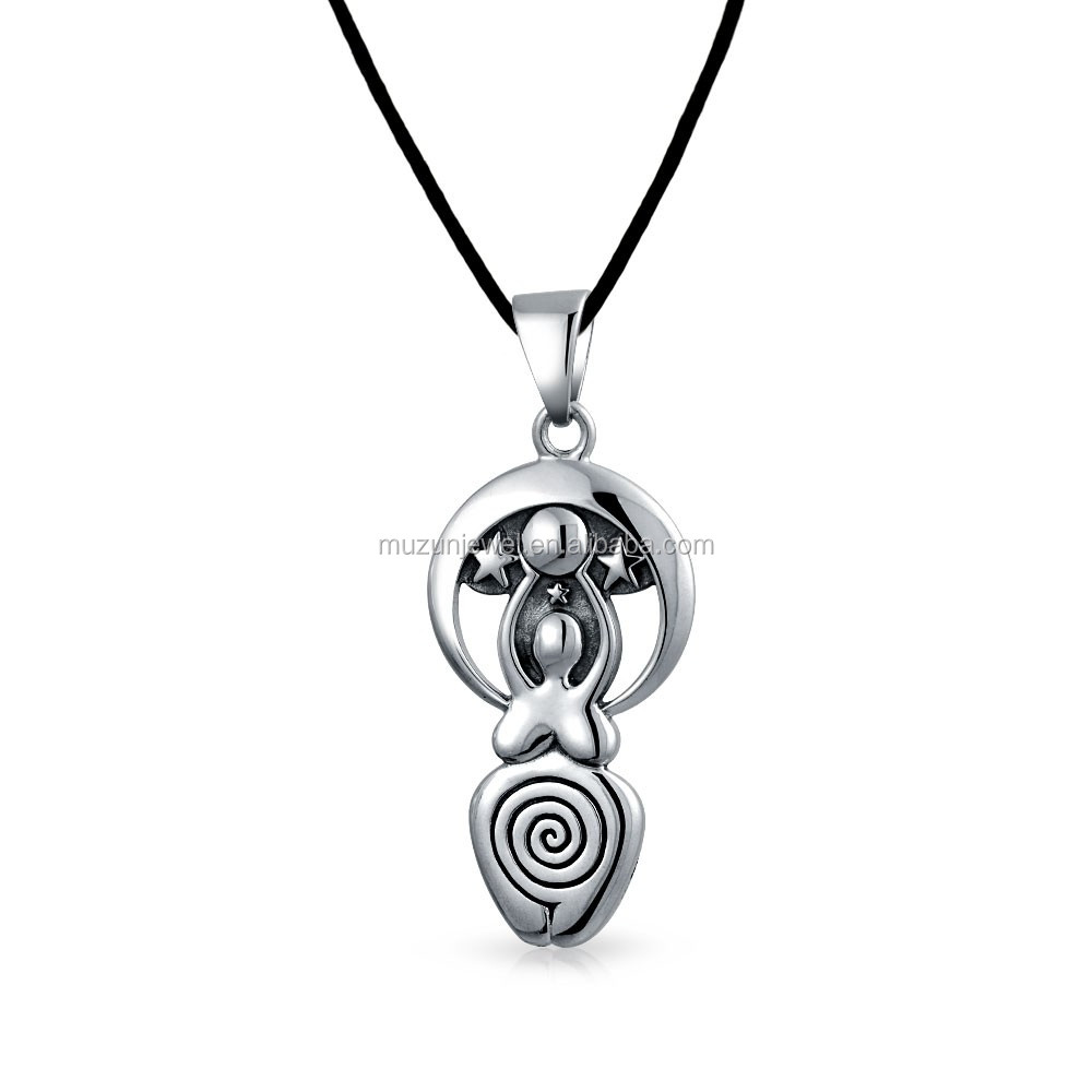 925 sterling Antique silver fertility moon goddess pendant necklace
