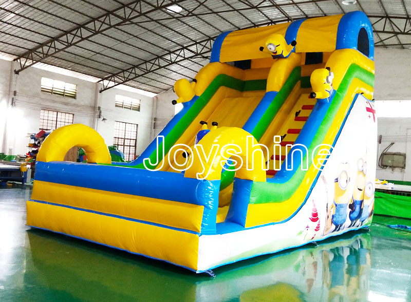 Large Minion Cartoon Yellow Inflatable Bounce Castle Dry Slides Playground Cheap Backyard Used Inflatable Bouncer Slide For Kids
