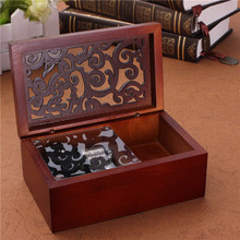 Best !! Hot Sale Vintage Hollow Out Wind Up Music Box Musical Finished Wooden Open Stylish Pattern Lid Jewel Crafts