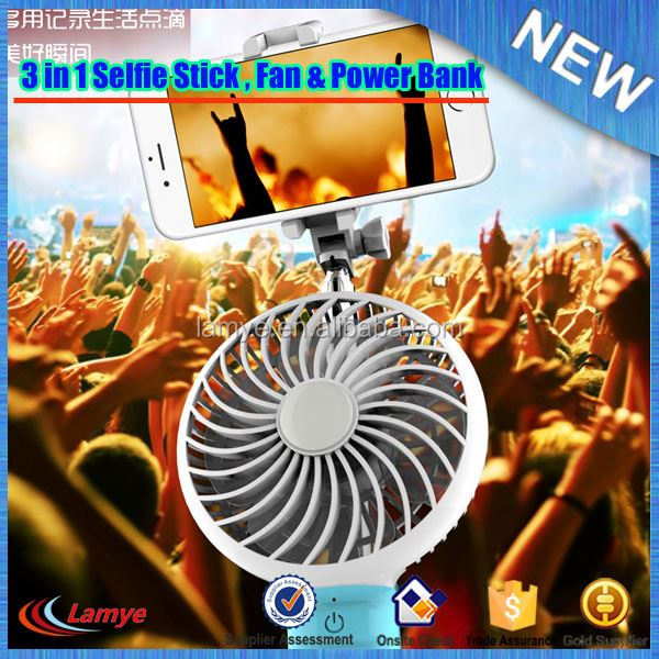 Outside Beach Automated Selfie Sstick,OEM Logo Fan and Power Bank for Travel
