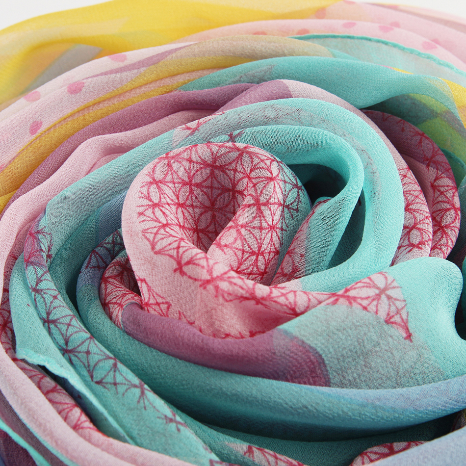 JANUARY KOMA chinese silk scarf shawl cool feeling summer scarf