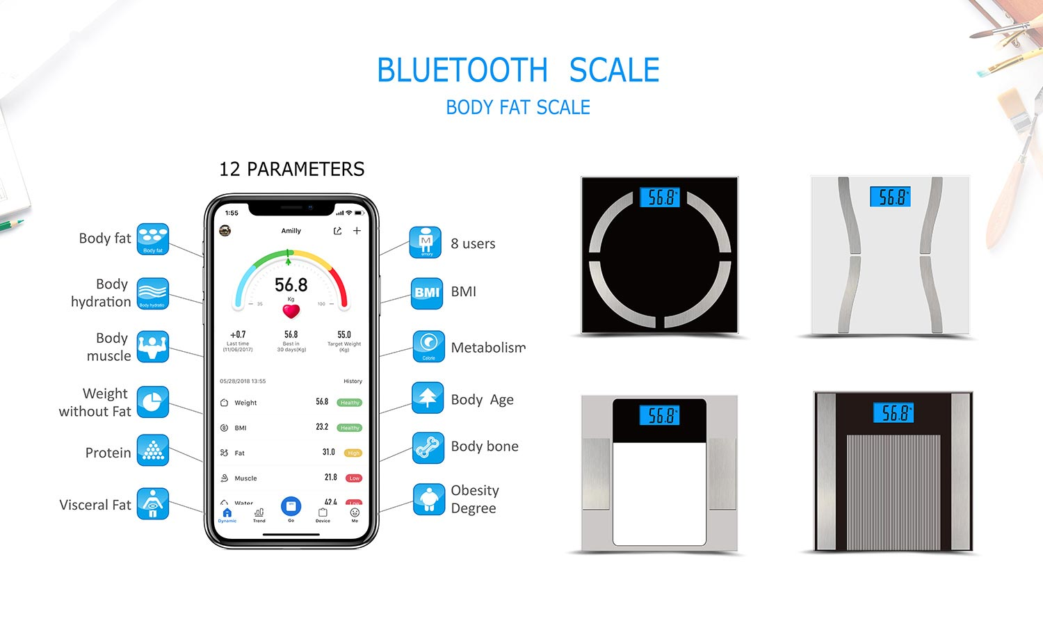 Simplified bluetooth scale and body fat monitor 180kg