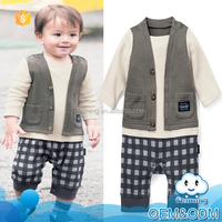 China suppliers wholesale baby clothes popular boys cool casual baby plain white cotton adult romper pattern set