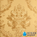damask feature purple pvc wallpaper