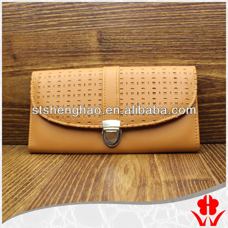 Popular fashion laser cut hollow leather wallet women in alibaba china purse purse lady