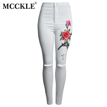 Mcckle alta cintura ripped knees Denim <span class=keywords><strong>jeans</strong></span> floral bordado mujeres elástico flaco Pantalones mujer lápiz <span class=keywords><strong>jeans</strong></span>