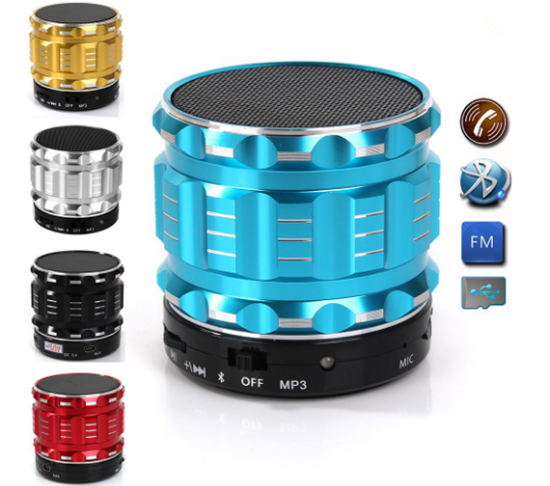 S28 Metal Mini Portable Bluetooth Speaker Mic TF Card Slot Stereo Speakers for mobile phone Laptop MP3 MP4 Player