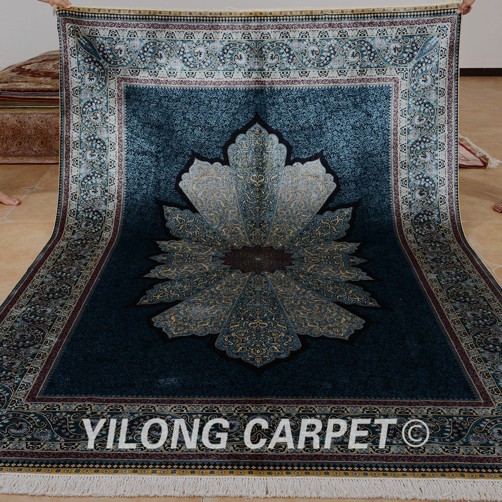 yilong 2x3 m de lujo azul turqu a alfombra de seda persa alfombras hechas a mano alfombra. Black Bedroom Furniture Sets. Home Design Ideas