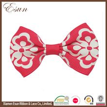 "New design 3"" red flower print ribbon alligator clip with hair bows"