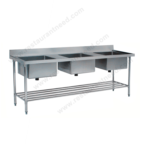High Level Cheap Commercial Triple Kitchen Stainless Steel Sink