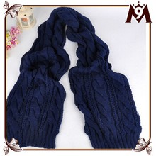 2015 custom design top quality thick navy blue knitting scarf