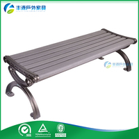 Patio furniture wooden bench to sit with cast aluminum frame