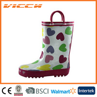 fancy kids rubber rain boots with fur lining