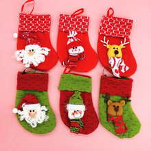 2017 Cheap hot Christmas Stocking Hanger Hanging Ornament Socks Santa For Decoration Xmas Tree