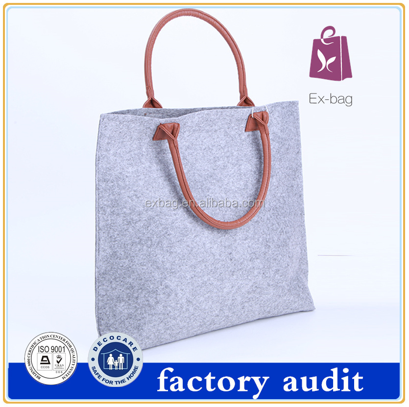 Plain cheap cute stylish durable tote felt shopping bag with logo