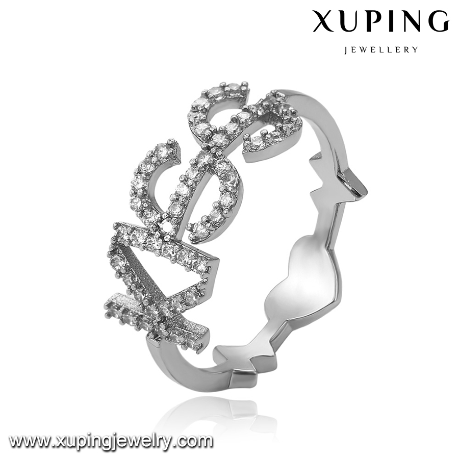 14185 Xuping kiss shape Couple rings Valentine's Day present, Micro-mosaic diamond engagement ring Anillo