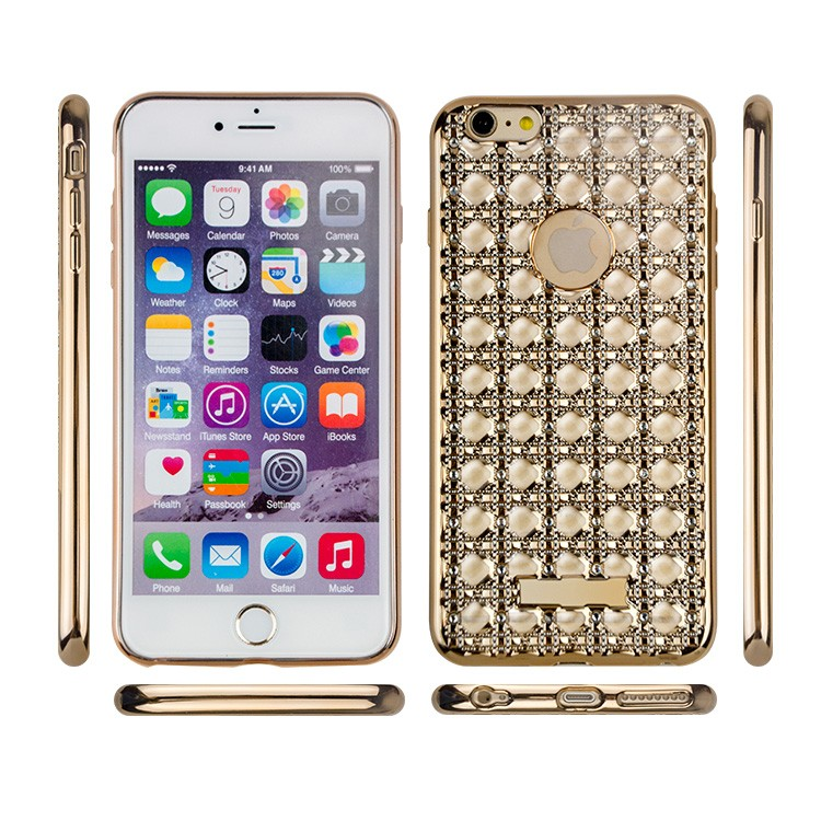 Trendy Glitter Agate Electroplating Soft TPU Phone Case For iphone 6 Plus 6s With Diamond