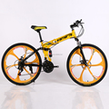folding mountain bike 21 speed double disc brakes bicycle 6 knife wheel wheel mountain bike