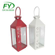 ML-1322 Factory Direct Price White And Red Metal Hurricane Lanterns