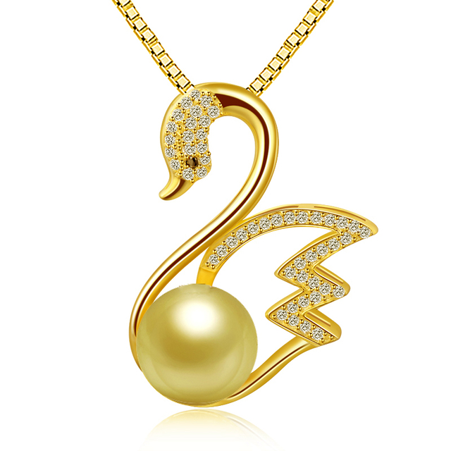 Korean new fashion design 925 sterling silver shell pearl necklace swan pendant jewelry in wholesales