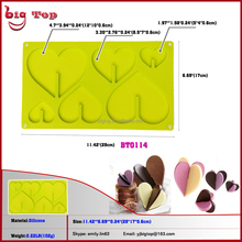 BT0114 3D Built-up Heart Shape Silicone Chocolate Mold Popular Ice Cube Tray Decoration Mould Cake Silicon Forms