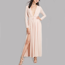 china fashion clothing manufacture knit long sleeve pakistani long maxi dress with high slit