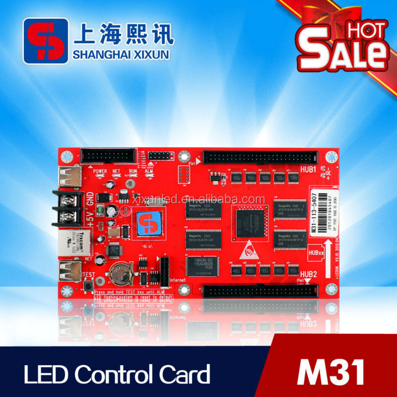 Asynchronous full color Rs232 led display control card support text,animation and video