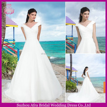 SD2180 elegant simple organza off the shoulder wedding dresses with sleeves