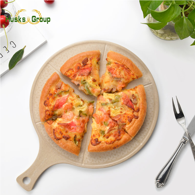 Premium Rice Husks Fibre Round Pizza Peel Cutting Board Serving Tray