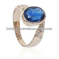 3.35 Ct Natural Kyanite & Diamond Ring in 14 K Gold