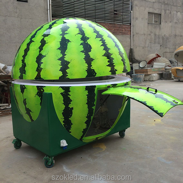 Fruit kiosk Artical watermelon & orange shape hot food vending cart/mobile coffee cart trailer/mobile catering food van