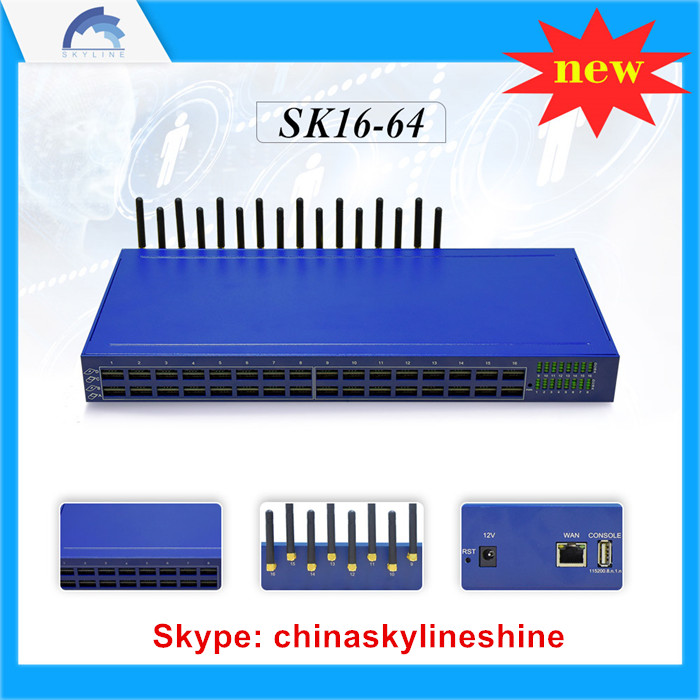 SKYLINE 16-64 voip gateway with sim bank features 16 channel 64 sims gsm gateway voip internet calls