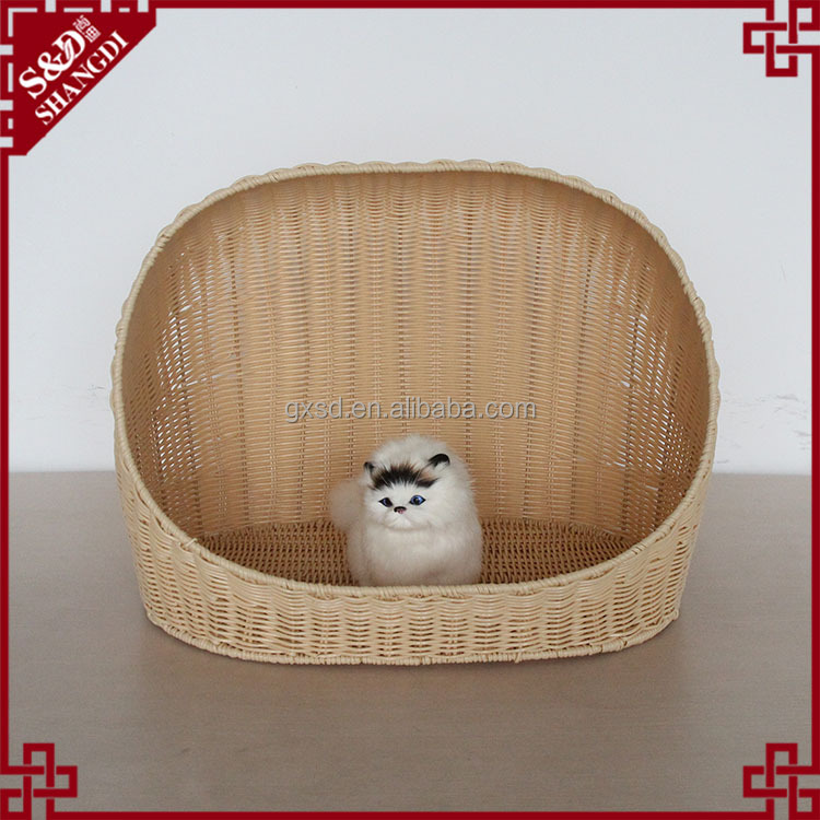 Amazing quality handmade carry away rattan PE pet bed decoration pet house plastic cat/dog House