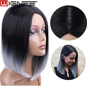 Wignee Synthetic Hair Extension Ombre Gray Color Non Lace Skin Top Bob Wig Short Haircut Wig For Black Women