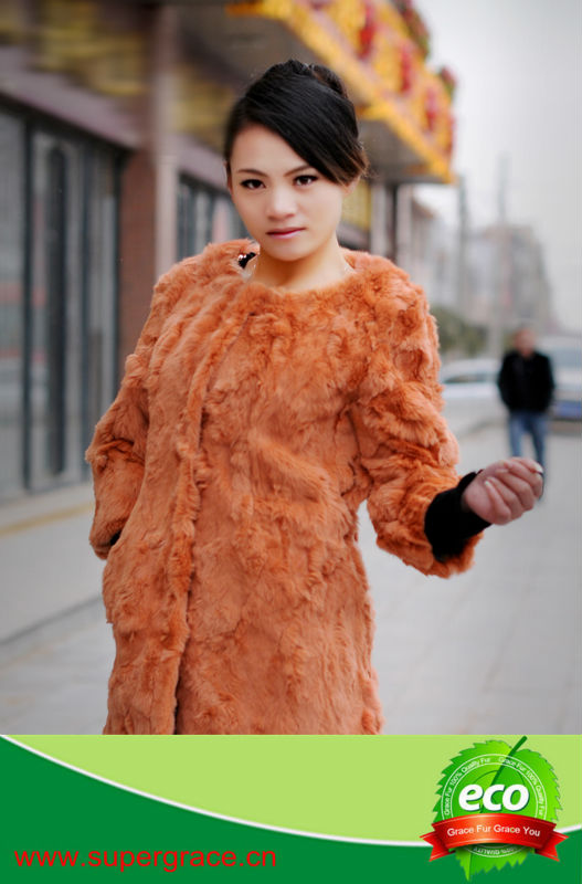 Bright Orange Lady's Beauty Winter Real Rabbit Fur Coat ,Long Causal Fur Coat