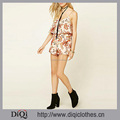 Thailand Wholesale Clothing Floral Print Flounce Romper,New Spaghetti Strap V-neck Playsuit