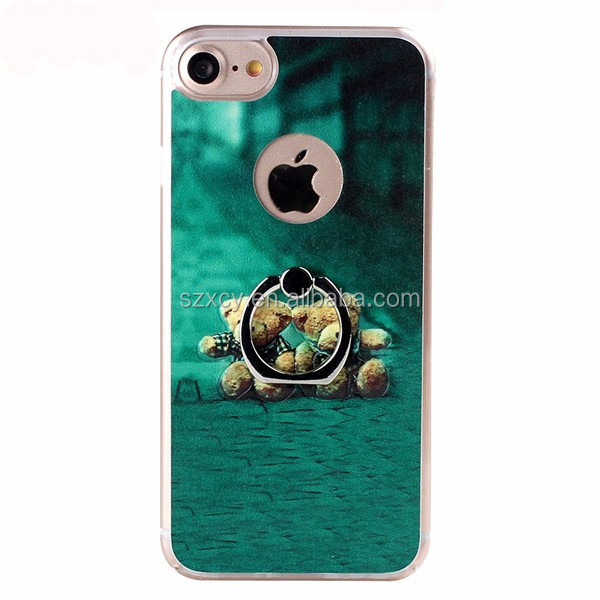 3d relief PU leather back cover metal ring holder hard PC plastic cell phone case for iPhone 6 7