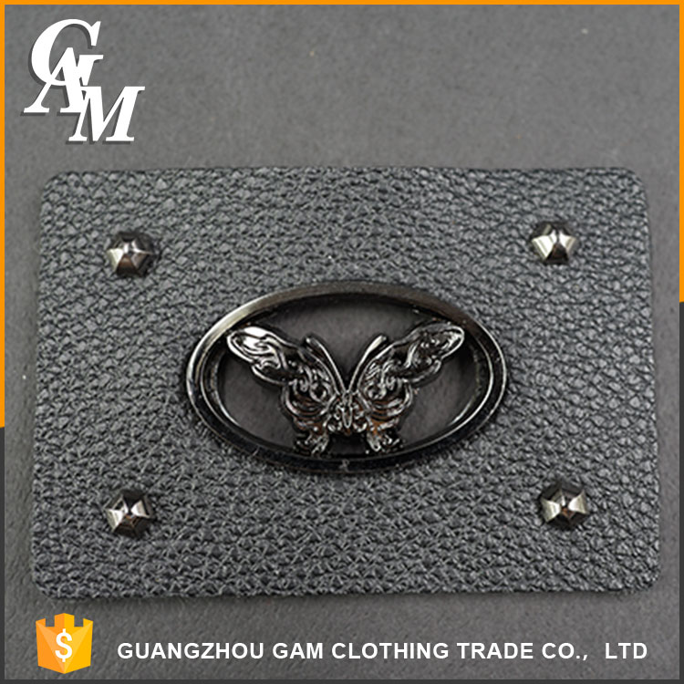 Oem hot sale classic design jeans leather jacket tag logo jean patch labels for clothing