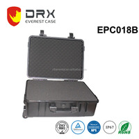 IP67 plastic handle equipment storage case with wheels