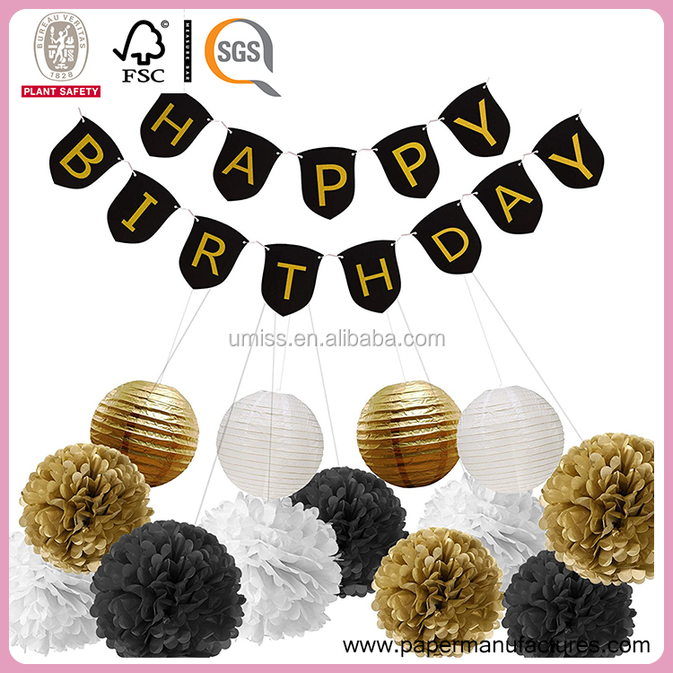 Umiss Black And Gold Happy Birthday Banner with Tissue Pom Poms Paper Lanterns Party Supplies