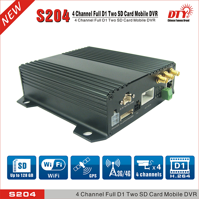 DTY 4ch full d1 24 hour video recorder dual sd card mobile <strong>dvr</strong>