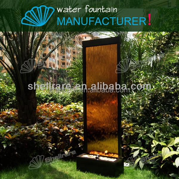 Outdoor atificial waterval in brons glas panel en led licht voor tuin decoratie andere - Outdoor licht tuin ...