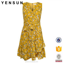 Ladies Summer Floral Casual Dress with ruffles detail Sleeveless Girl Skate Mini Dress