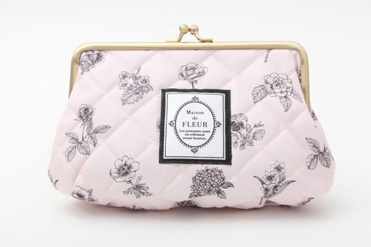 Free Shipping Fashion Cotton Fabric Coin Purses Light Pink Color with Florals Pattern Storage Bag for Coins