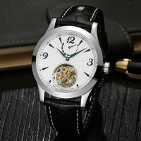 Custom High End Genuine Crocodile Leather Real Tourbillon Watch For Men