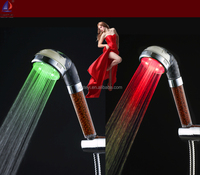 Temperature sensor 3 color Negative Ions shower head with light
