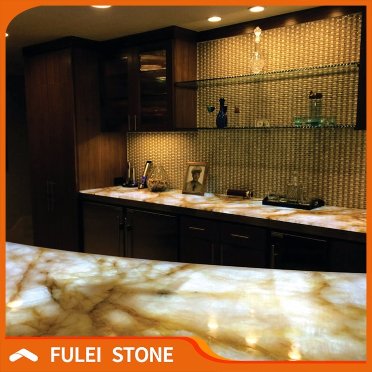 Laminate translucent commercial backlit onyx stone bar countertop