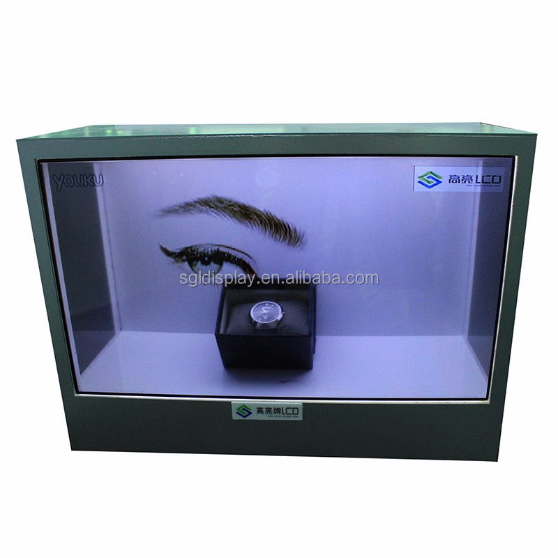 transparent lcd display screen for jewelty showing by video